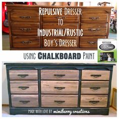 How to make any dresser look more industrial and rustic (similar to Restoration Hardware's look) using only Chalkboard paint. Super easy and made my boys' room look so much more handsome and cool! #rusticdressermakeover