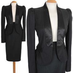 FRENCH CONNECTION PENCIL SKIRT SUIT SIZE 12 10 BLACK 50S STYLE WOMEN LADIES