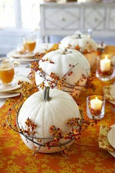White pumpkins are the theme this season. This is perfect for a Fall wedding or your special dinner party decor. Why not use some Gold Canyon votive candles in Mulled Harvest, White Pumpkin or Woodland Spice.  www.magscandles.mygc.com