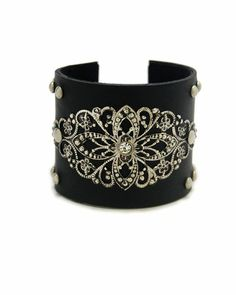 Black and silver ornate cuff bracelet