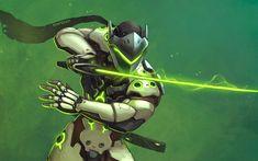Download wallpapers Genji, sword, characters, cyber warrior, Overwatch