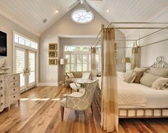 hardwood in the bedroom and high ceilings