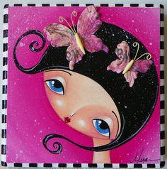 pink butterflies girl by Megan K. Suarez