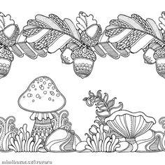 "Képtalálat a következőre: ""oak leaf zentangle borders"" Forest Coloring Pages, Coloring Pages To Print, Coloring Book Pages, Coloring Pages For Kids, Coloring Sheets, Style Floral, Black And White Background, Forest Design, Autumn Art"