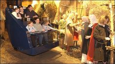 Family on a capsule at the Jorvik Viking Centre.  York