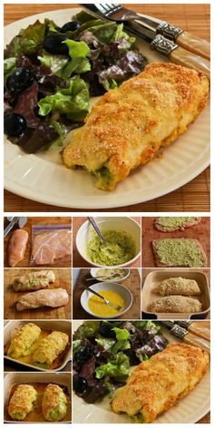 Baked Chicken Stuffed with Pesto and cheese and this is coated with almond flour and Parmesan so it's low-carb and gluten-free.  This is fun to make when you have guests for dinner.  [from KalynsKitchen.com] #LowCarb #GlutenFree