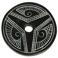 """Coal Pendant with Muisca Scroll #2  Crafted by Artisans in Colombia  Measures 1-3/4"""" diameter and 1/8"""" thick"""
