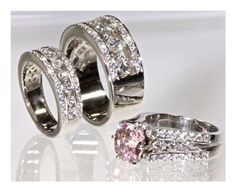 6.5 cttw 18K White Gold Natural Ceylon Pink Sapphire and Princess Diamond Bridal Wedding Engagement Trio Ring Set Channel Setting for Couples, Men and Women, His and Hers (Certified Natural Ceylon Pink Sapphire: VS Clarity | Diamonds: Color:F, Clarity:VS2, Ring Sizes 5-13)