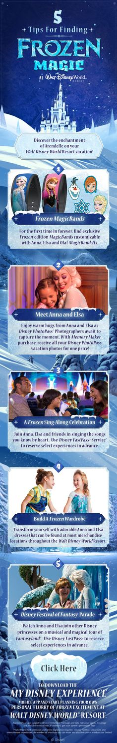 Find Frozen magic on your Walt Disney World vacation with Frozen MagicBands, My Magic+, and FastPass+! Meet Anna and Elsa, singalong with your favorite Frozen songs, and find the perfect Frozen wardrobe!