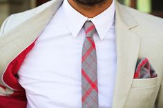 Summer, suit lining in coral, would have switched the pocket square to something more playful. #style