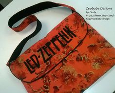 Led Zeppelin Messenger Bag Red and Black by ZepbabeDesign on Etsy, $45.00