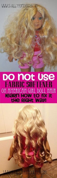 use fabric softener on American Girl Doll Hair! Learn How to fix Curly and straight Doll Hair atNOT use fabric softener on American Girl Doll Hair! Learn How to fix Curly and straight Doll Hair at American Girl Crafts, American Doll Clothes, Girl Doll Clothes, Doll Clothes Patterns, American Girls, Doll Patterns, American Girl Doll Hair Care, Children Clothes, American Girl Storage
