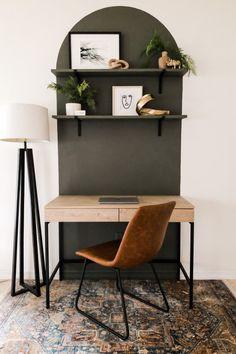 Wood Slat Wall, Wood Slats, Diy Wood Wall, Black Window Frames, Faux Brick Walls, Home Office Decor, Home Decor, Desk Office, Wall Decor Crafts