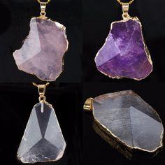 SUNYIK Natural Crystal Gem Stone Point Irregular Stone Healing Pendant (Free Chain)