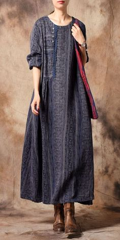 185c7ca8eb0 Green And Blue Vintage Loose Cotton Linen Print Maxi Dresses For Women  Q31125 Boho Summer Dresses