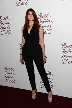"""Gemma Arterton. I wish the hair were softer/bigger and back off the face, and I don't like the heels for her, but I think this silhouette really works for her. My understanding is that this kind of tulip silhouette (I think Kibbe calls it """"T-silhouette"""") is good for SD. Long, supple vertical line, strong cleavage/shoulder emphasis."""