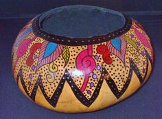 Hand painted natural gourd bowl on Etsy