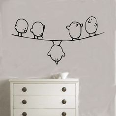 Cartoon Birds On A Wire Vinyl Wall Decal Wall Graphic Art