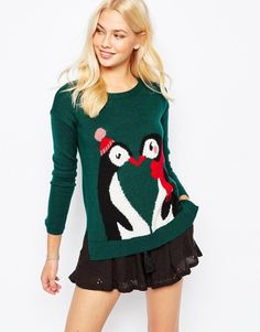 Penguins Kissing Knit Christmas Jumper in Green #noveltyxmasjumpersuk