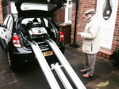 Mr Reynolds loading his all new portable mobility scooter the Quingo Flyte. The Quingo Flyte mobility scooter loads in under 60 seconds and fits into most small cars and hatchbacks.
