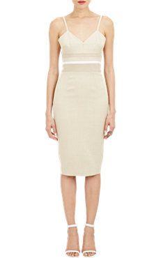 Victoria Beckham Leather-Seam Basket-weave Dress