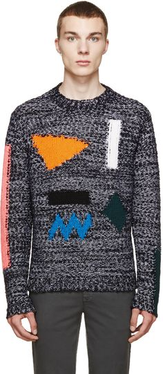 Kenzo - Black Multicolor Intarsia Sweater