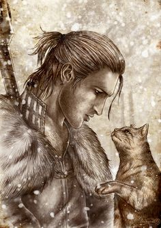 """Farewell"" - Anders, saying goodbye to Ser Pounce-a-lot. By Agregor, DeviantArt. Feeeelllllsss!"