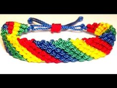 TUTORIAL DIY COMO HACER UNA PULSERA AJUSTABLE MULTICOLOR DE NUDOS SIMPLE EN DIAGONAL