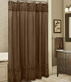 Ruched brown shower curtain