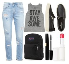 """School Style"" by elizabeth-0716 ❤ liked on Polyvore featuring Paige Denim, Billabong, American Eagle Outfitters, JanSport, Lancôme, women's clothing, women, female, woman and misses"