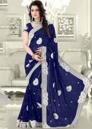Party Wear Georgette Blue Antique Work Saree