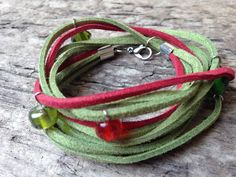 Red and Green Double Wrap Leather Suede Hippie Handmade Bracelet with Glass Beads by EffyBuu on Etsy bracelet Suede Bracelet, Handmade Bracelets, Handmade Gifts, Hippie Bracelets, Glass Beads, Trending Outfits, Unique Jewelry, Green, Leather