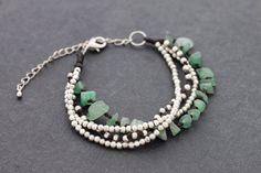 Jade Silver Chain Bracelet Adjustable by XtraVirgin on Etsy, $8.50