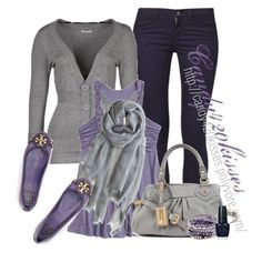 Purple and gray look great together too but the flats have to go. :)