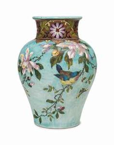A THEODORE DECK EARTHENWARE TURQUOISE-GROUND VASE CIRCA 1870, IRON-RED TH DECK MARK