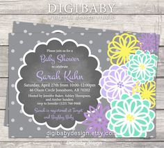 baby Boy or baby Girl Baby Shower invitation - teal mint green, lavender, yellow and grey flowers chalkboard - printable digital files by DigiBabyDesign on Etsy https://www.etsy.com/listing/231479929/baby-boy-or-baby-girl-baby-shower