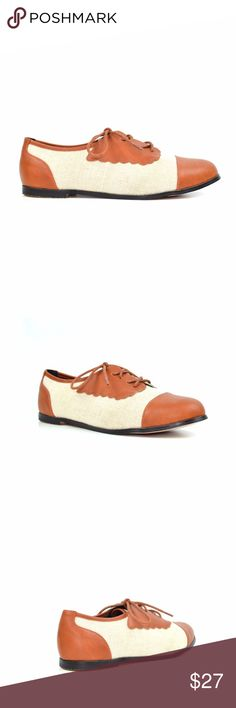 Chase & Chloe Dana Tan/White Two Tones Oxford Saddle-shoe styling adds cool, classic appeal to a sleek lace-up oxford perfect for modern schoolgirls and fashionistas alike.  Chase & Chloe Dana-3 Round Toe Lace-Up Oxford Women's Flat Oxford Approx. 0.25″ Heel, 0.25″ platform Approx. 2.25″ Shaft Height Approx. 3.5″ Shaft Circumference Imported Synthetic Chase & Chloe Shoes Sneakers