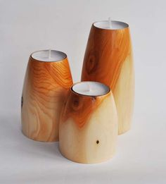 Tea light holders - trio turned from a single yew branch