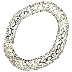 Islet Curved Narrow Bangle Bracelet in Sterling Silver by Doug Bucci, 2016   From a unique collection of antique and modern miscellaneous jewelry at https://www.1stdibs.com/furniture/more-furniture-collectibles/miscellaneous-jewelry/