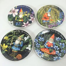 MWW Market Boxed Set of 4 Gnomes Mini Plates Gnomies & Set of 4 Currier Ives Miniature Homestead Four Seasons Mini ...