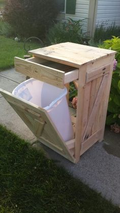 Tip out trash can with drawer. Follow KraigsDIYCreations on Facebook