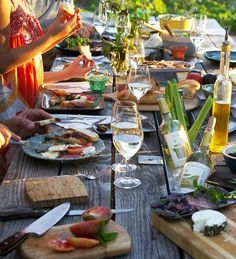 Summer evening picnic at our tasting room garden table