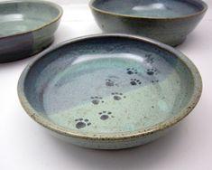 Stoneware Pet Feeding Dish Bowl Ceramic Pottery Clay Handmade Cat Dog