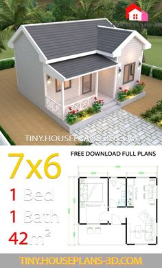 House Plans with One Bedroom Cross Gable Roof - Tiny House Design Tiny House Cabin, Cottage House Plans, Country House Plans, Modern House Plans, Small House Plans, One Bedroom House Plans, Small House Layout, Small House Design, House Layouts