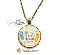 Explore dream discover quote necklace-Mark Twain by naturapicta © NATURA PICTA All Rights Reserved