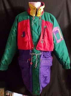 Vintage 90s Puffer Ski Jacket J Gallery Bright Color Blocked Medium Neon Puffer #JGallery #Everyday