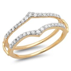 050 Carat ctw 14k Yellow Gold Round Diamond Ladies Anniversary Wedding Band Enhancer Guard Double Ring 12 CT Size 65 ** Click image to review more details.