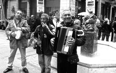Gypsy band, Ermou St, Athens. Photo by A. Amvrazi