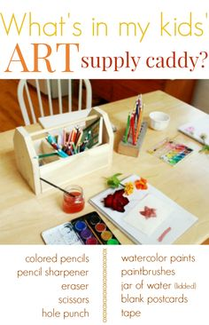 Whats in Our Kids Wooden Art Supply Caddy --with links and ideas for offering a carefully curated selection of art materials at a time to foster creativity. (Plus a GIVEAWAY for an awesome wooden art caddy and a craft kit!)