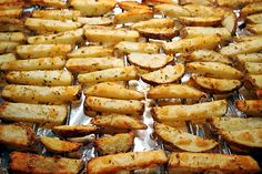 "Oven-Baked Parmesan Garlic Seasoned ""Fries""! Fresh potatoes and super healthy dinner idea! Check out my BLOG for more healthy recipes! =)"